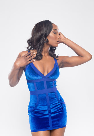 Royal Blue Velvet Bodycon Bandage Dress