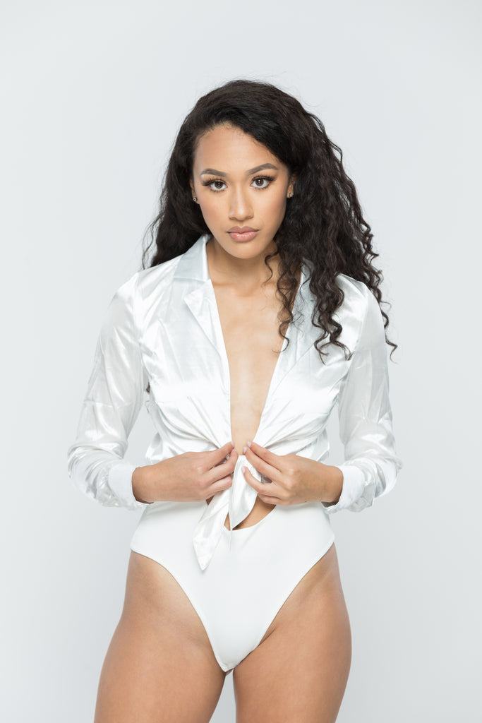 White Satin Tie Front Bodysuit