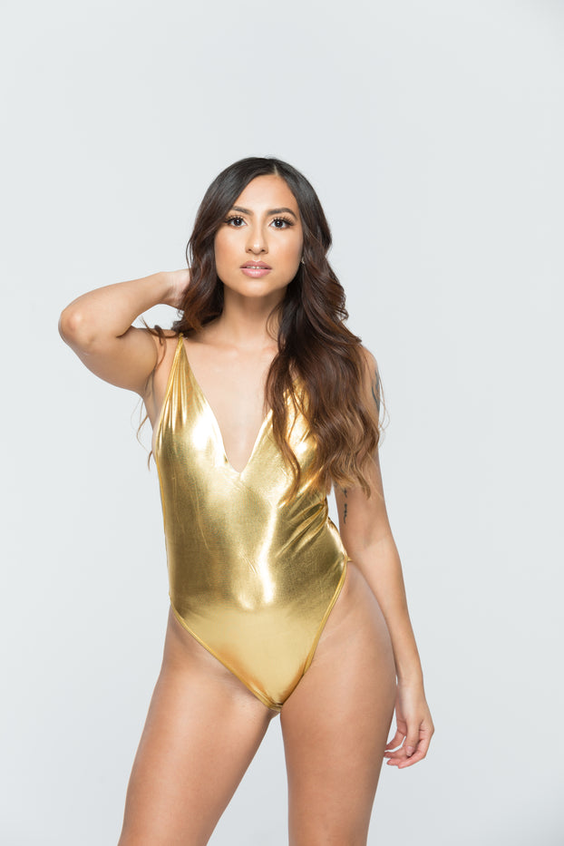 Gold Metallic Deep Cut Bodysuit