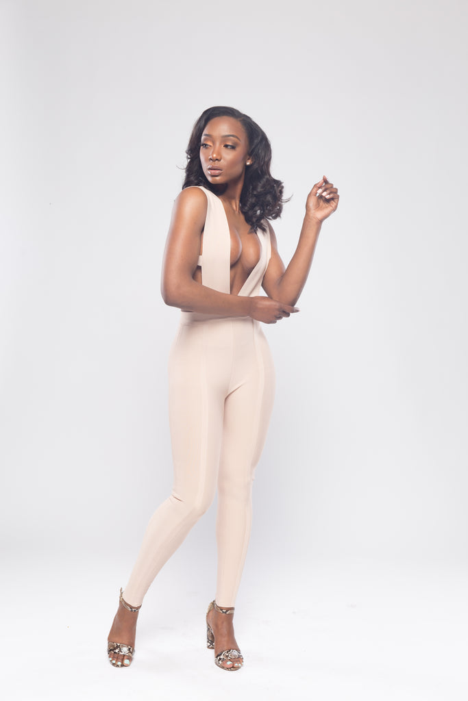 Beige Form Fitting Bandage Jumpsuit