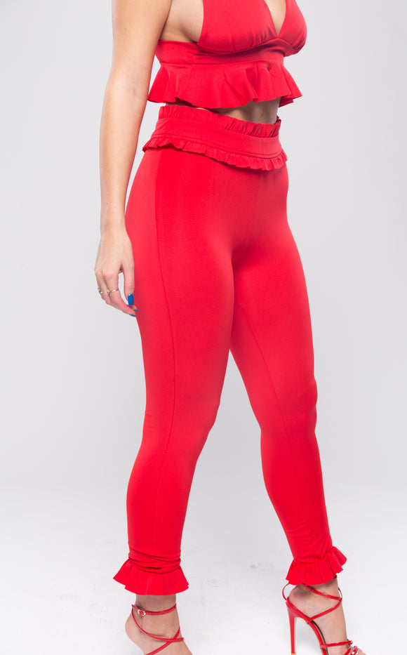 Red Ruffle Stretch Trousers
