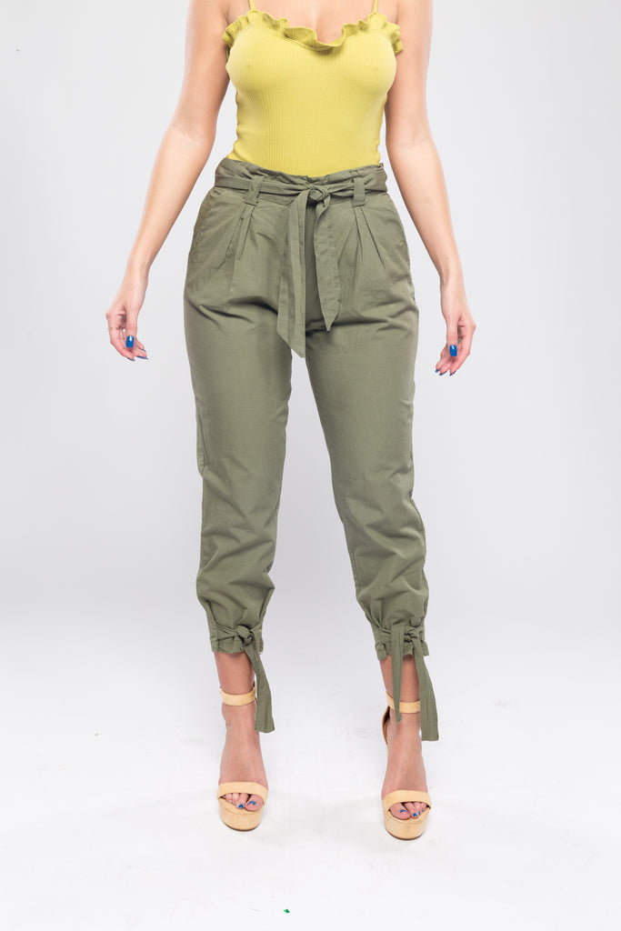 Olive Green Tie Up Trouser Pants
