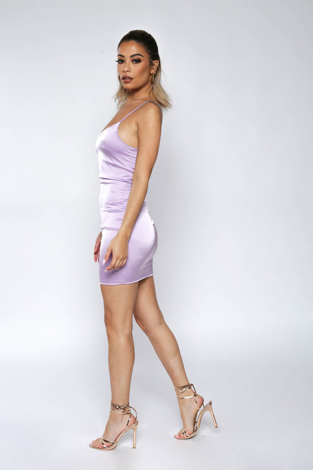 Purple Satin Spaghetti-Strap Mini Dress