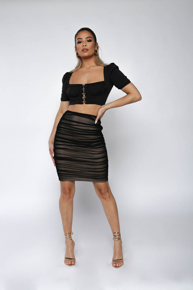 Black Ruched Hook Front Crop Top