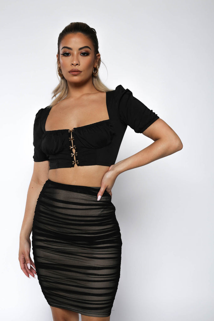 Black Ruched Mesh Bodycon Skirt
