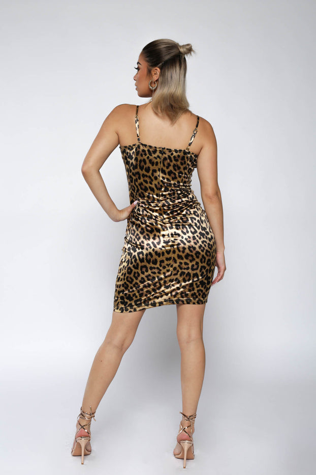 Leopard Print Satin Bodycon Dress