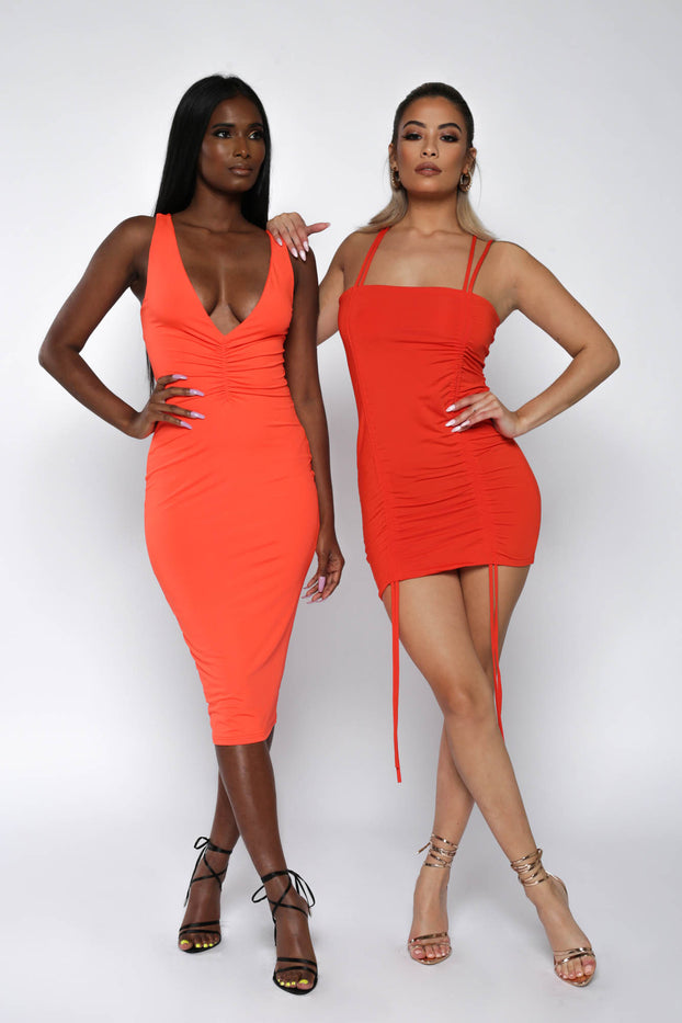 Orange Ruched Front Bodycon Dress