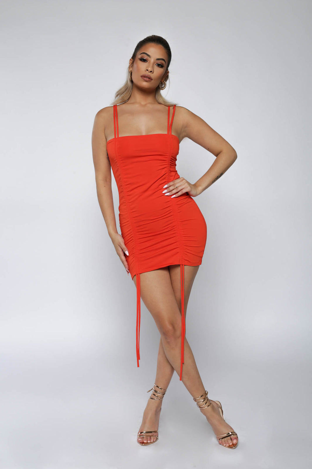 Orange Tie Front Bodycon Dress