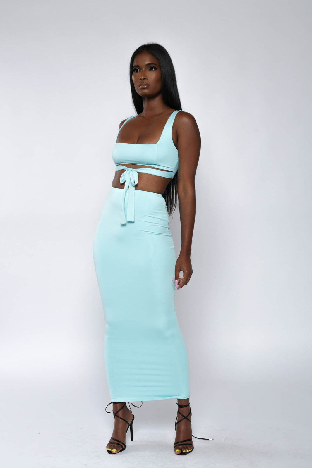 Blue Co-ord Midaxi Skirt Set