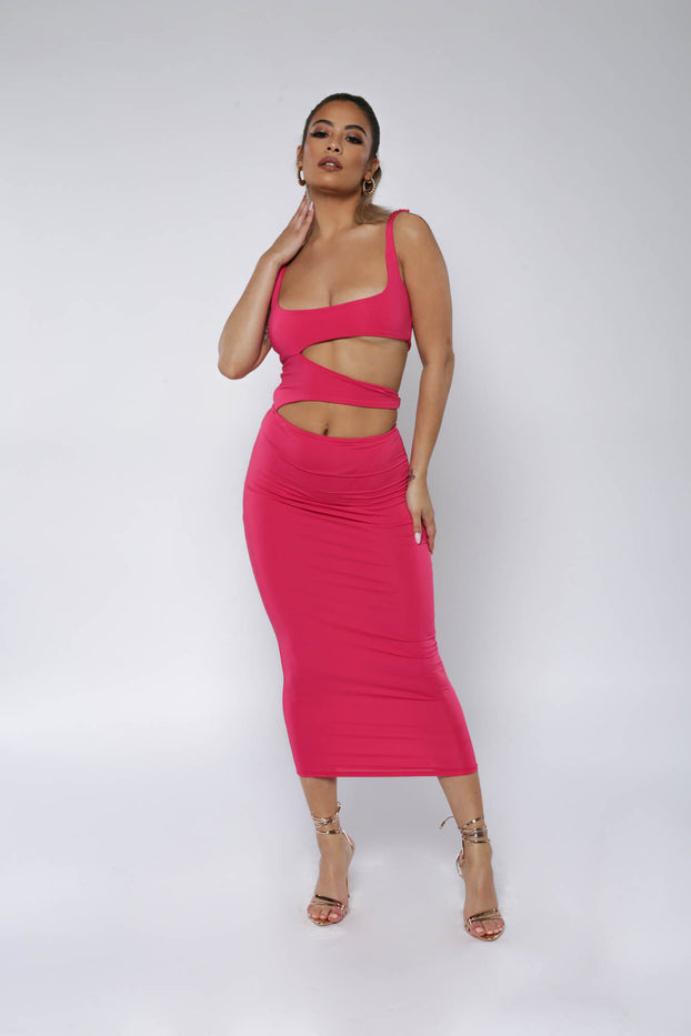 Hot Pink Cutout Midi Dress