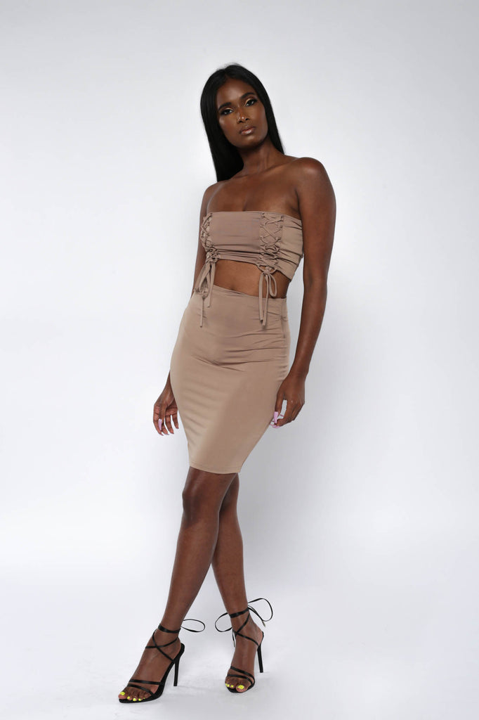 Brown Bodycon Co-ord Mini Skirt Set