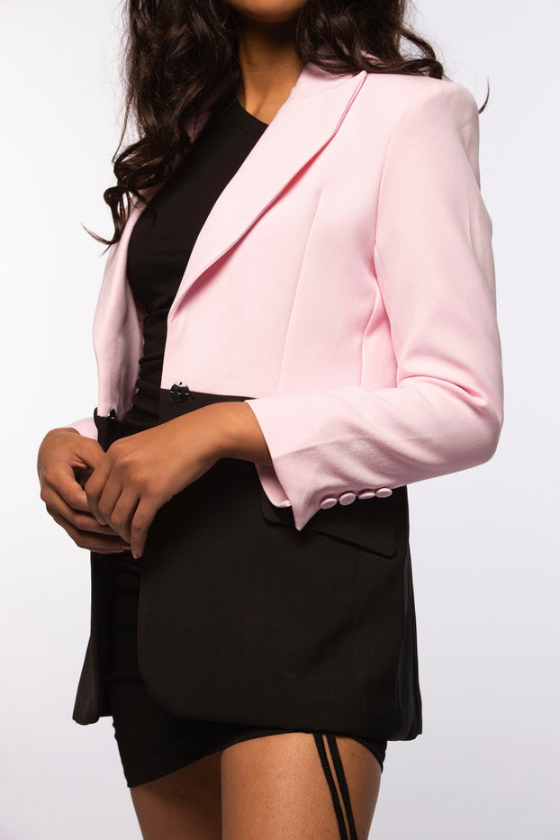 Pink and Black Contrast Blazer