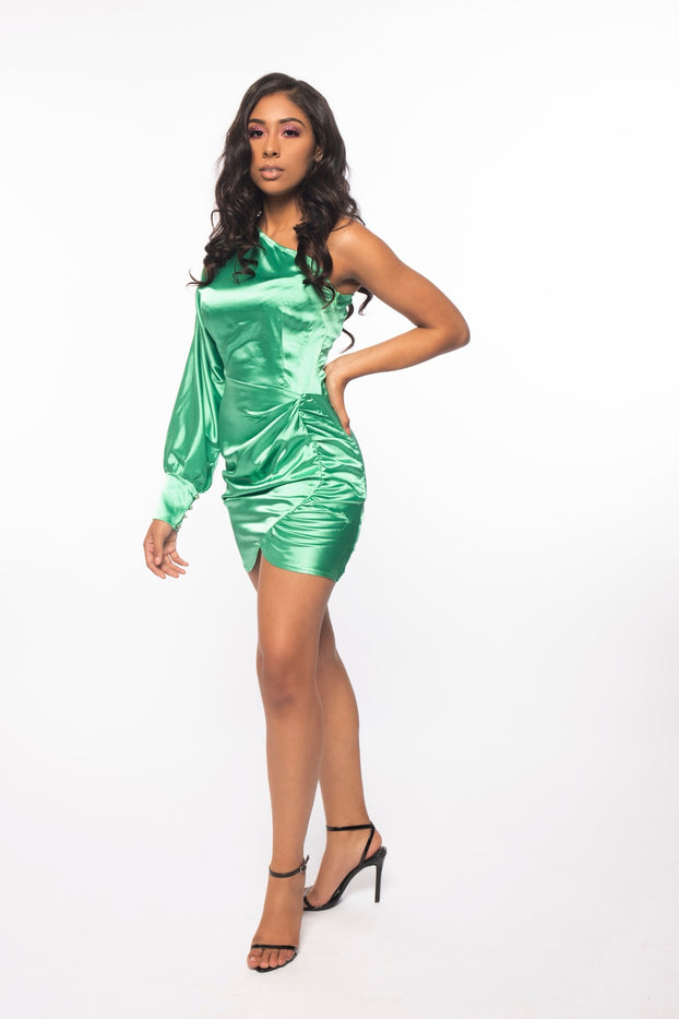 Green Satin One Arm Dress