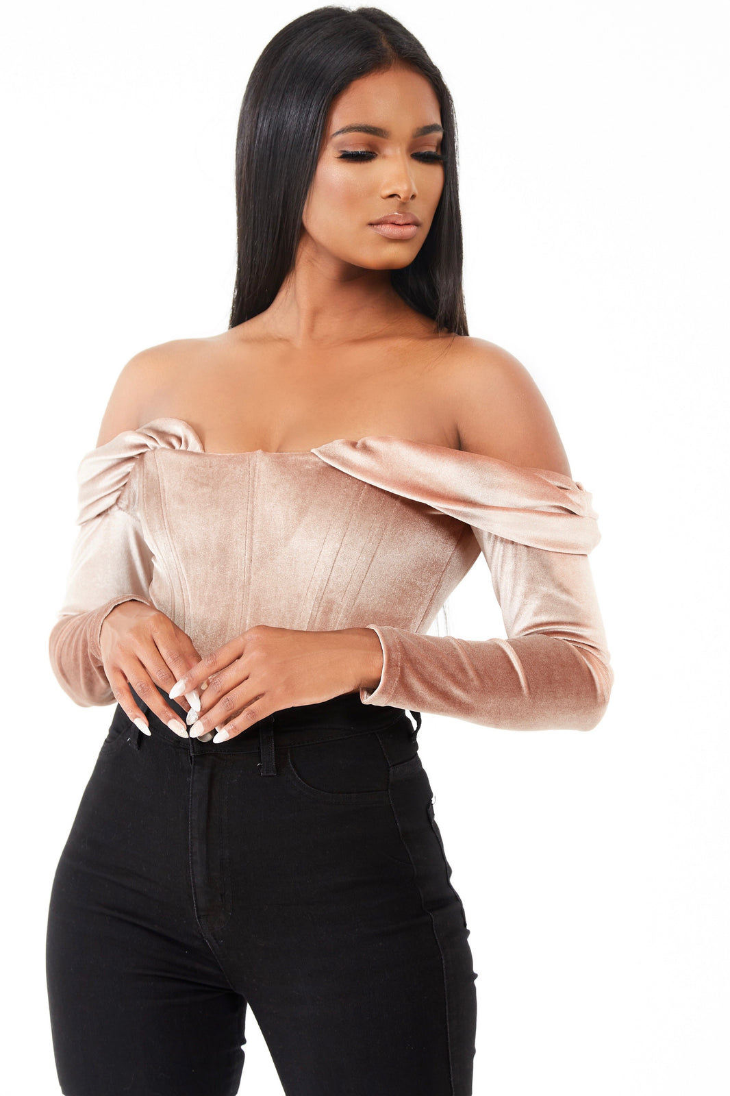 Velvet Off The Shoulder Corset Top