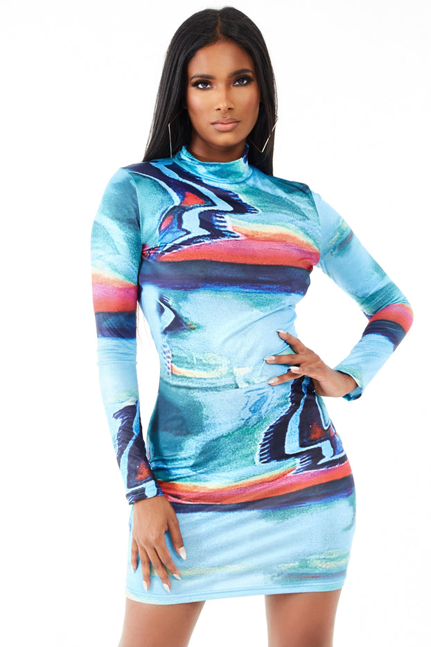 Multicolored Printed Bodycon Mini Dress