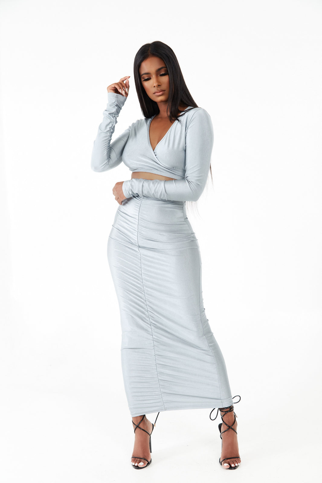 Ruched Front Maxi Skirt Co-ord Set