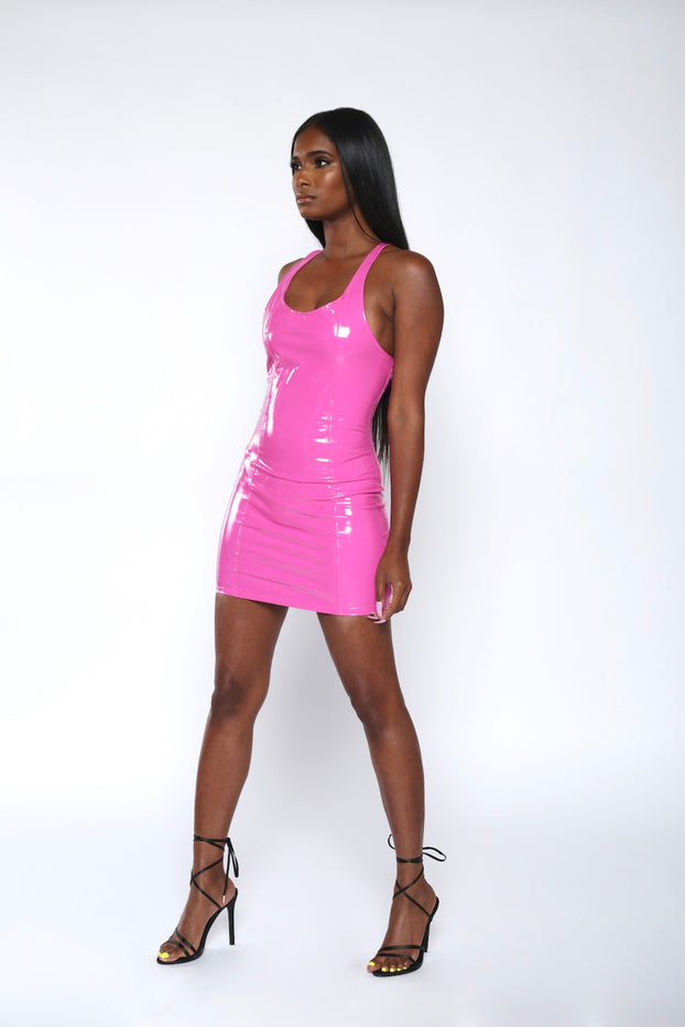 Pink Patent Leather Mini Dress