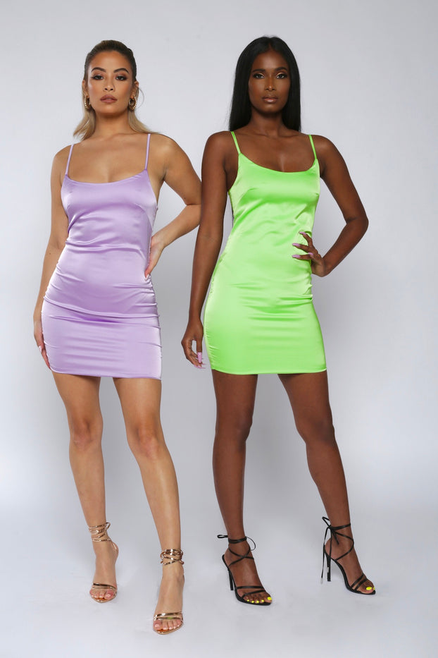 Satin Spaghetti-Strap Mini Dress