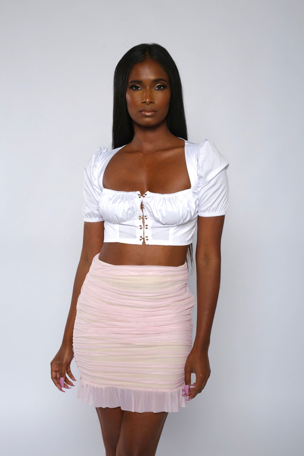 White Hook Front Crop Top