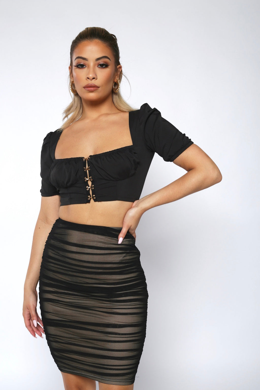Black Hook Front Crop Top