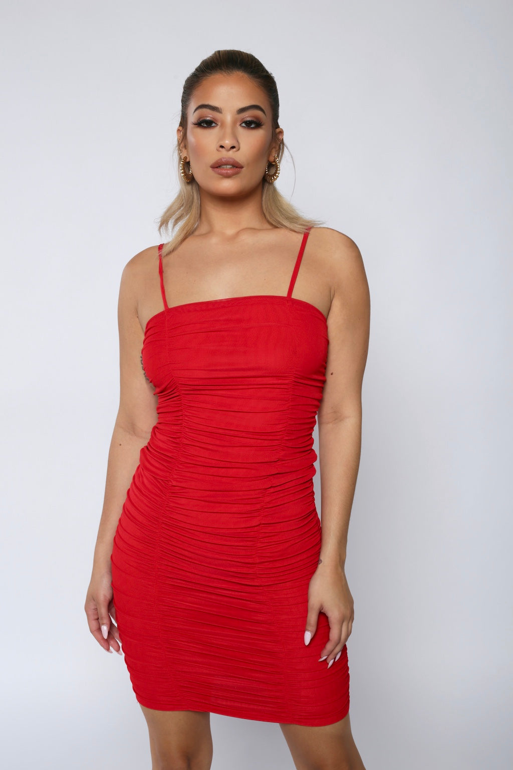 Red Mesh Ruched Bodycon Dress