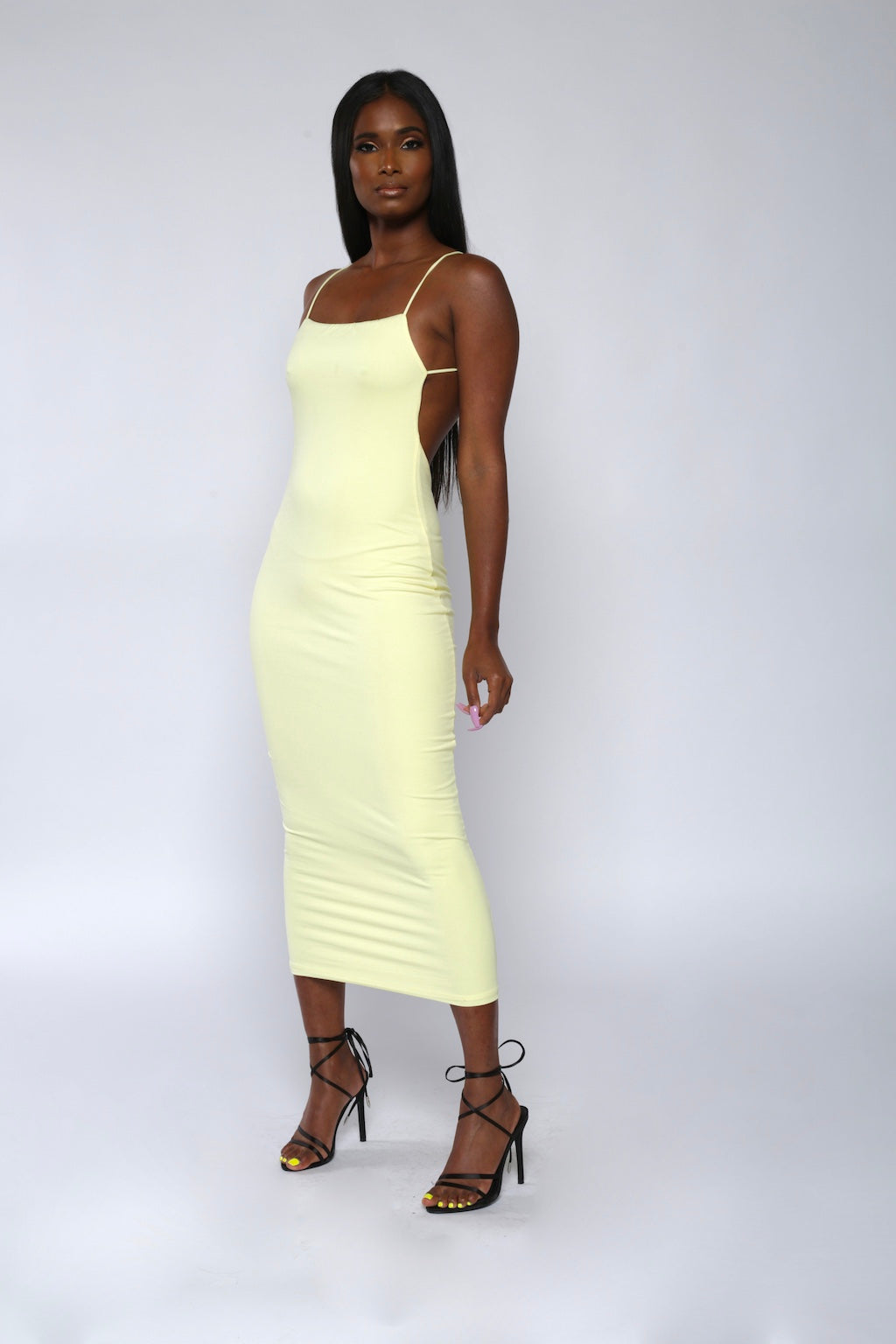 Yellow Backless Bodycon Dress