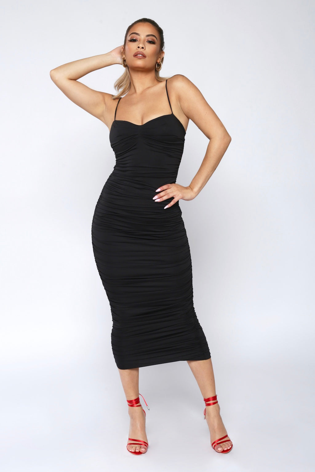 Black Ruched Bodycon Midi Dress