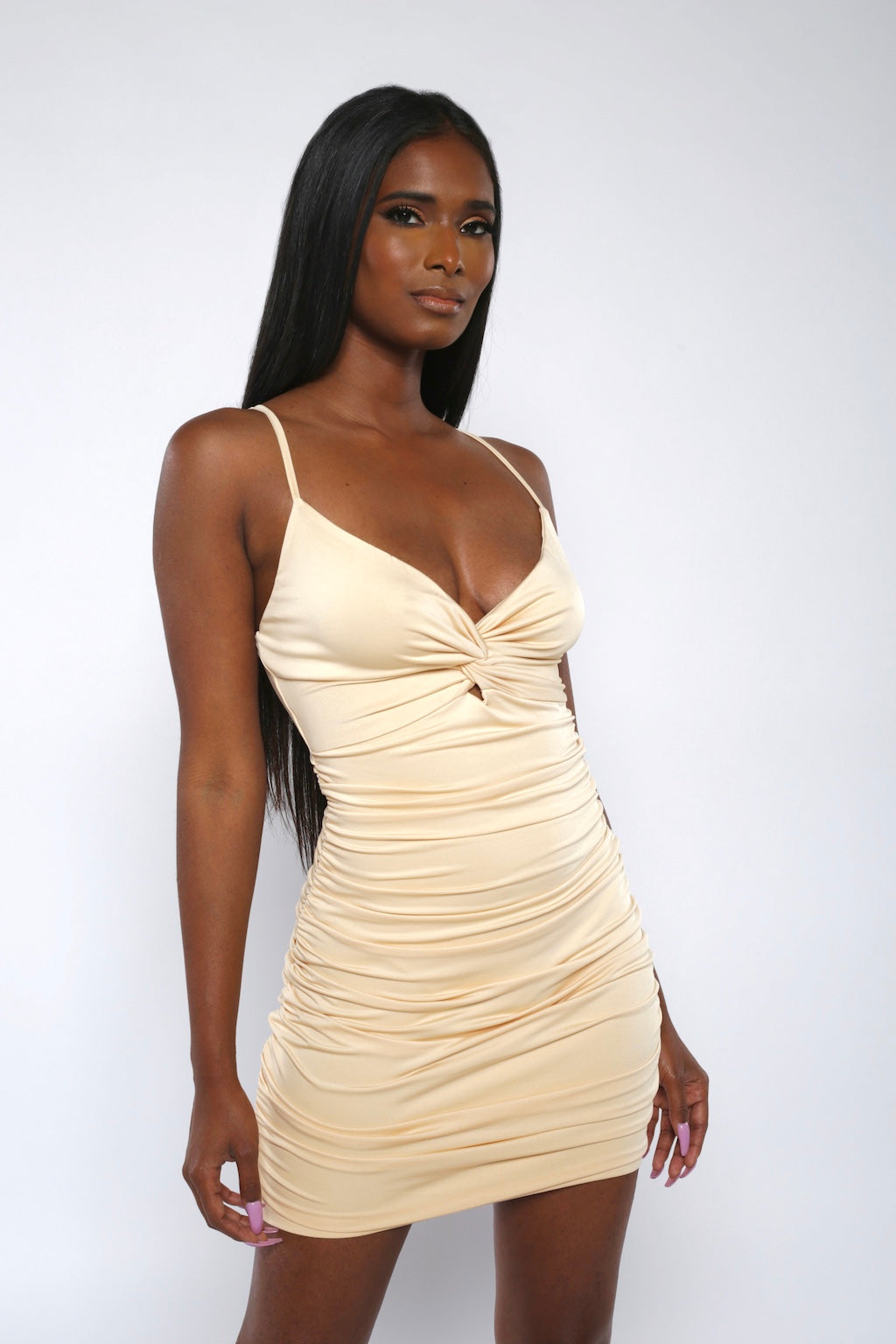 Beige Knot Front Ruched Bodycon Dress