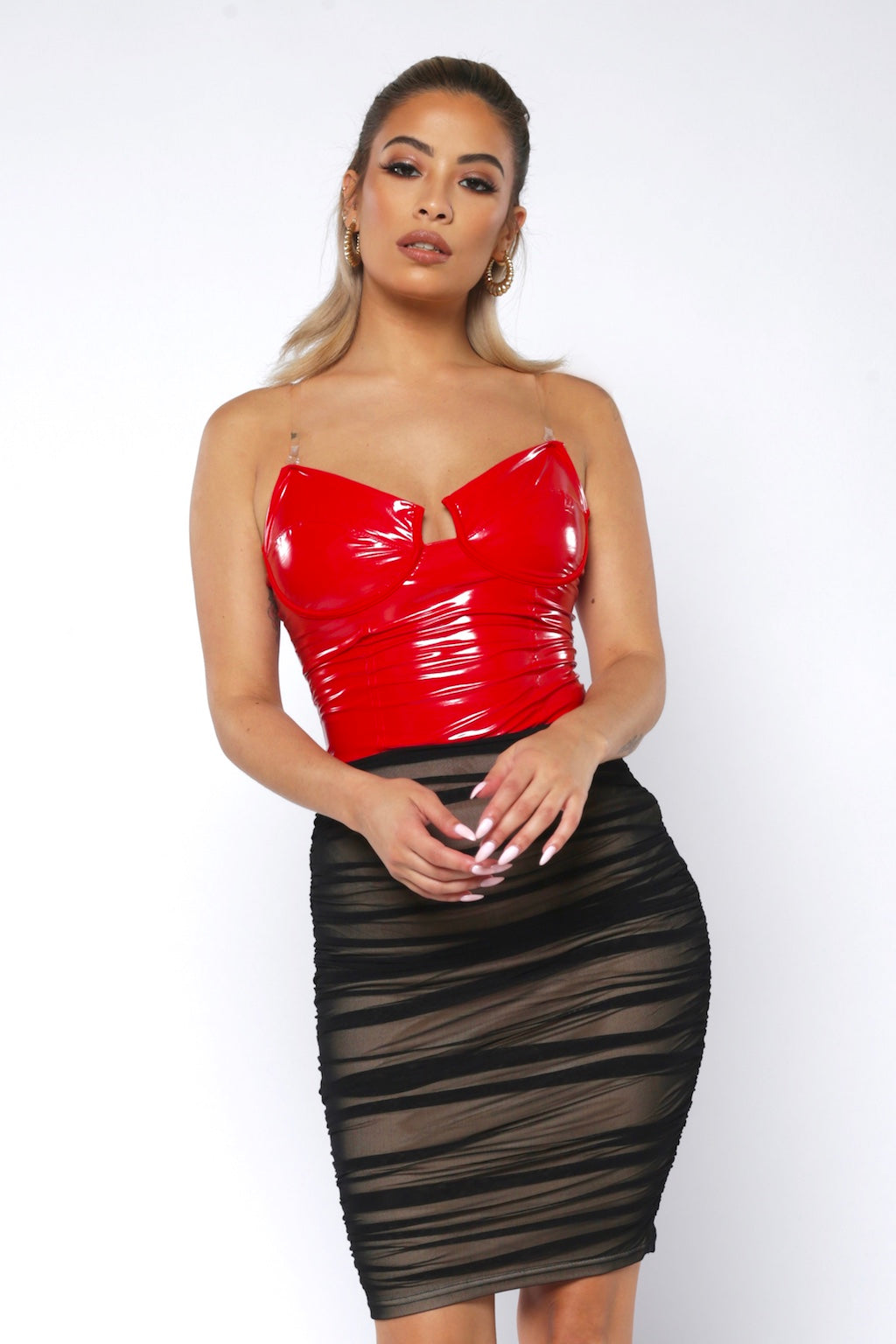 Red Patent Leather Bodysuit