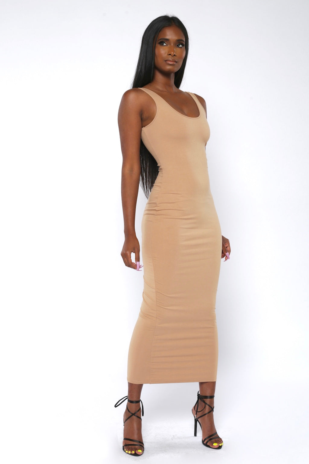 Beige Basic Bodycon Midaxi Dress