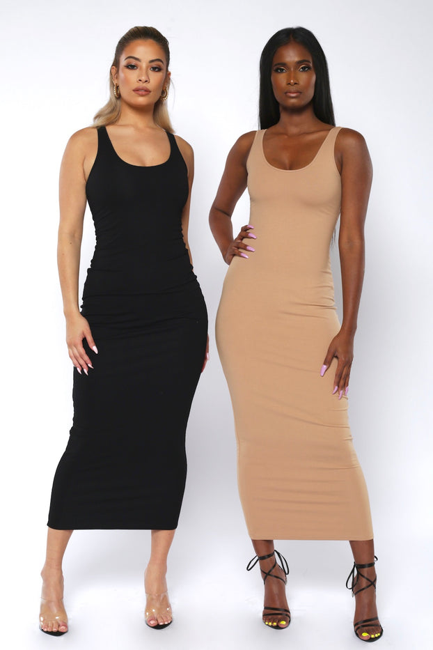 Black Basic Bodycon Midaxi Dress