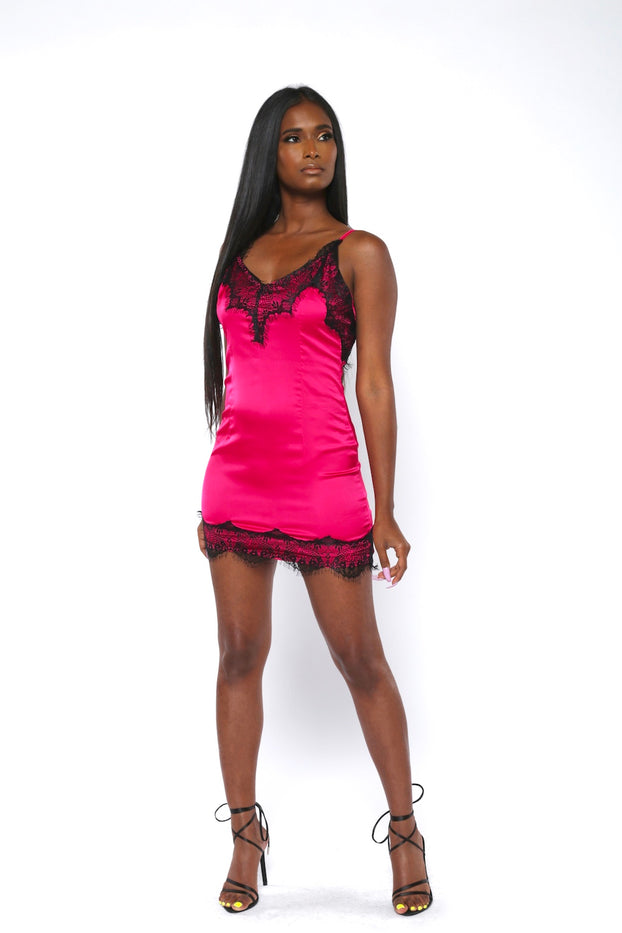 Fuchsia Lace-Trimmed Satin Bodycon Dress