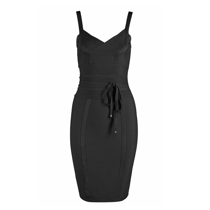 Black Tie Up Bodycon Bandage Dress
