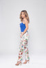 White Straight Leg Bright Floral Trousers