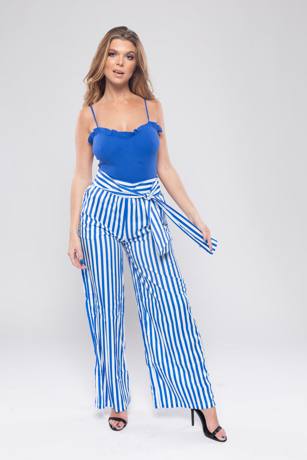Blue and White Striped Wide Leg Trousers