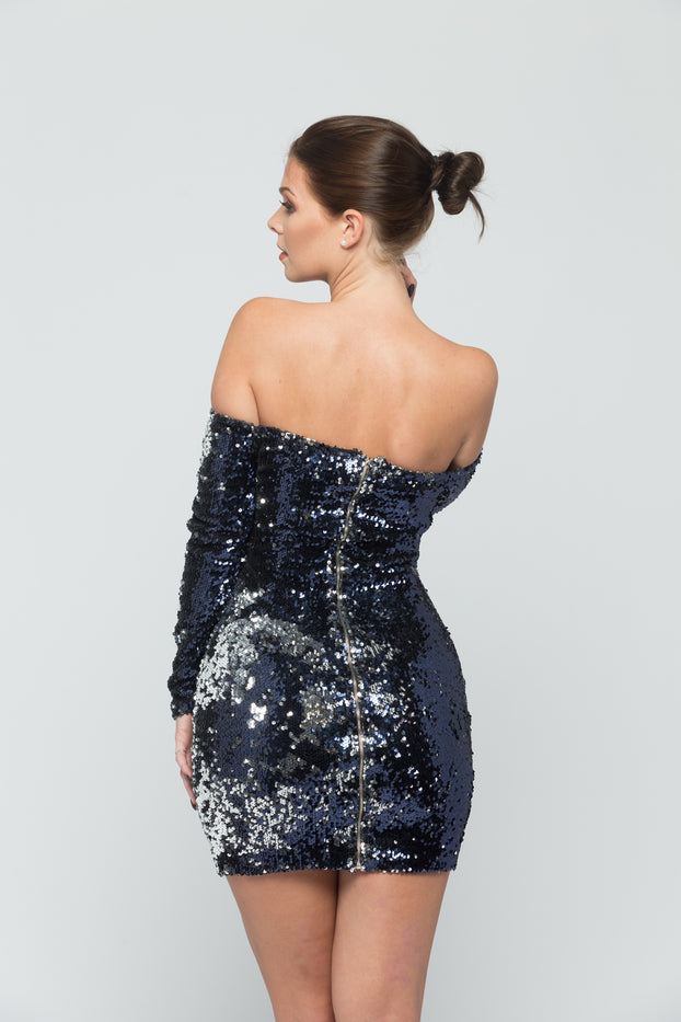 Blue and Silver Flip Sequin Dress
