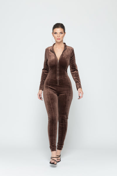 Brown Velvet Zip Up Jumpsuit