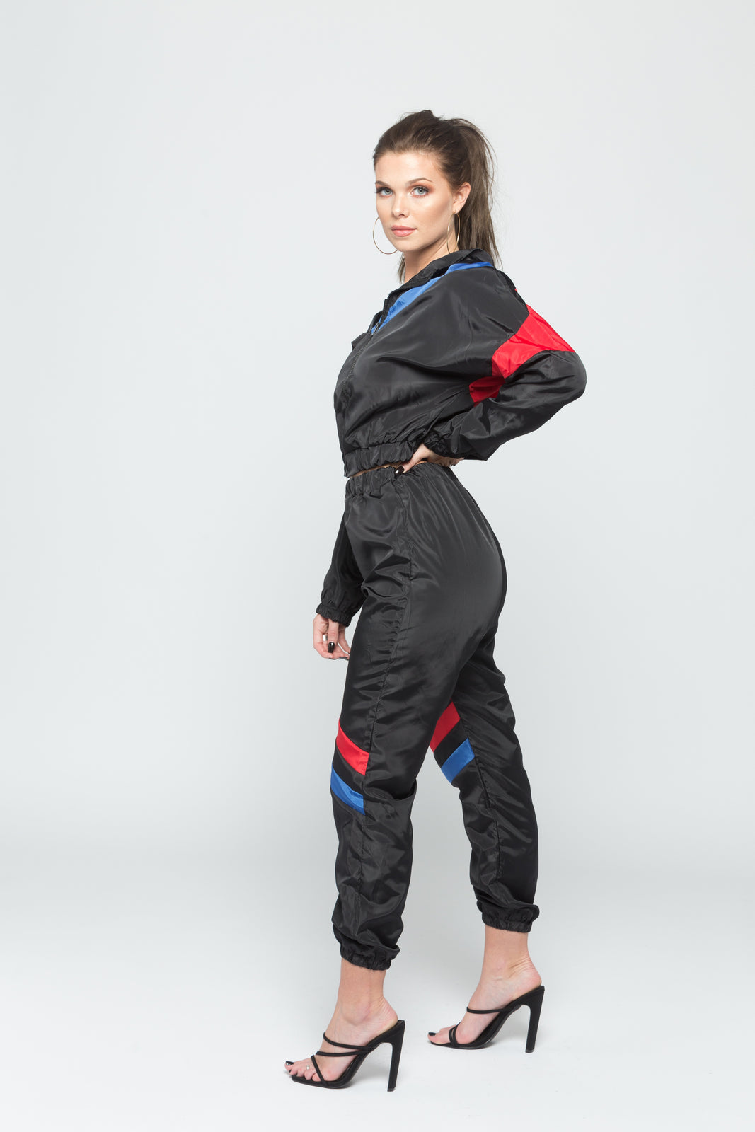 Red and Blue Contrast Tracksuit