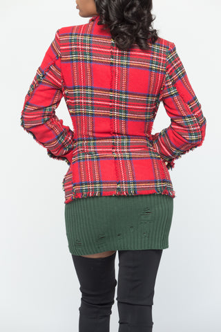 Red Tweed Plaid Blazer