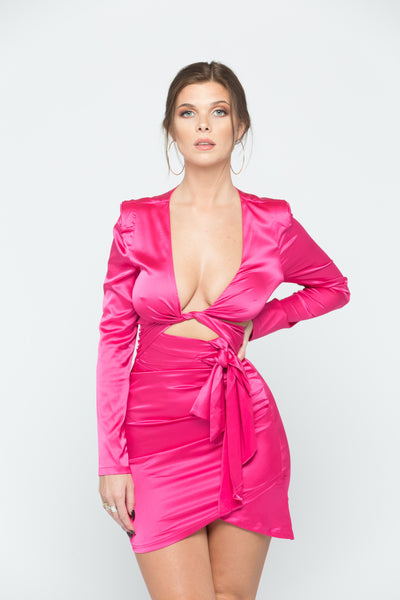 Hot Pink Satin Cut Out Dress