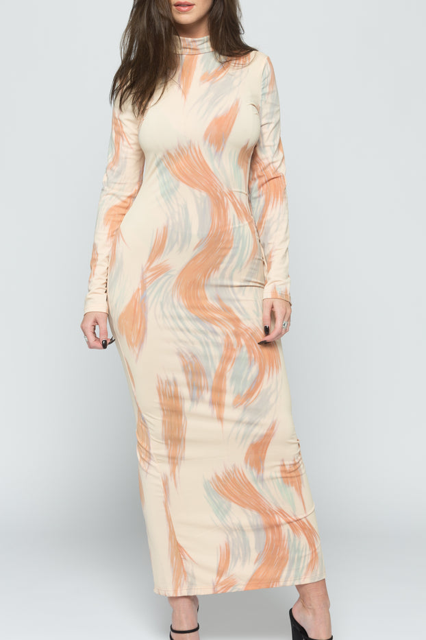 Beige Long-Sleeve Printed Bodycon Midaxi Dress