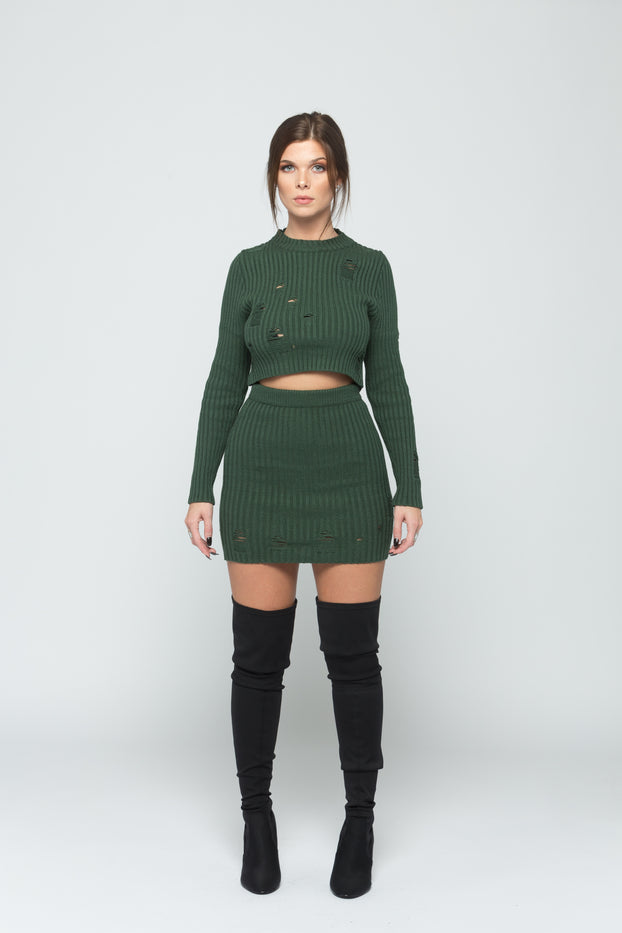 Green 2 Piece Distressed Knit Skirt Set