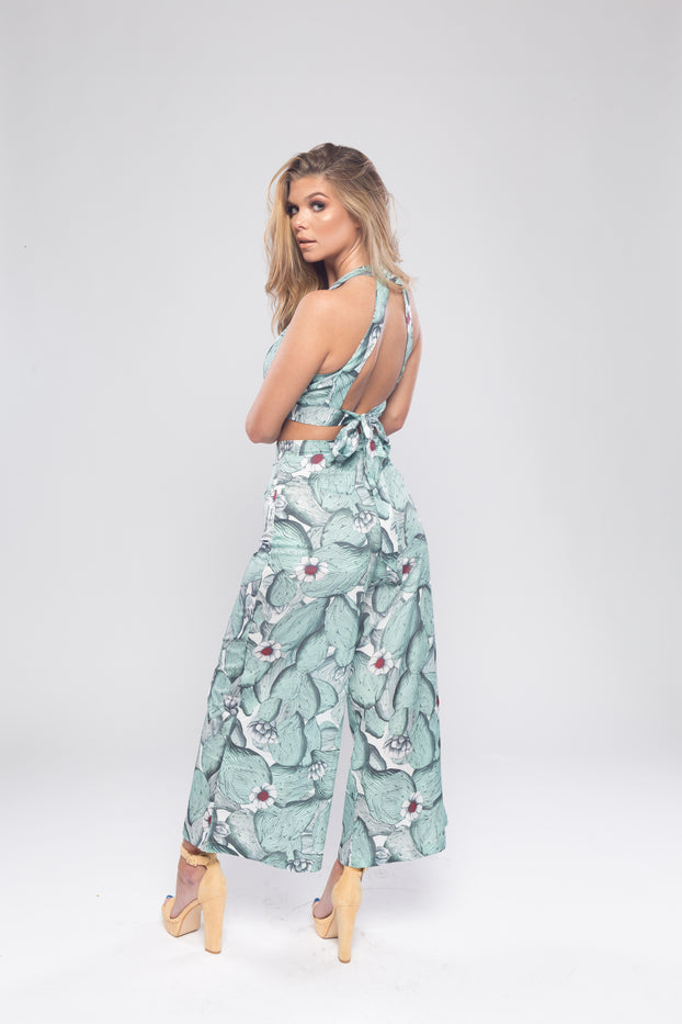 Mint Green Floral Wide Leg Trousers