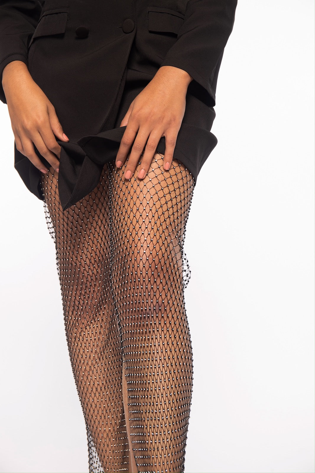 Wide Leg Jeweled Net Pants