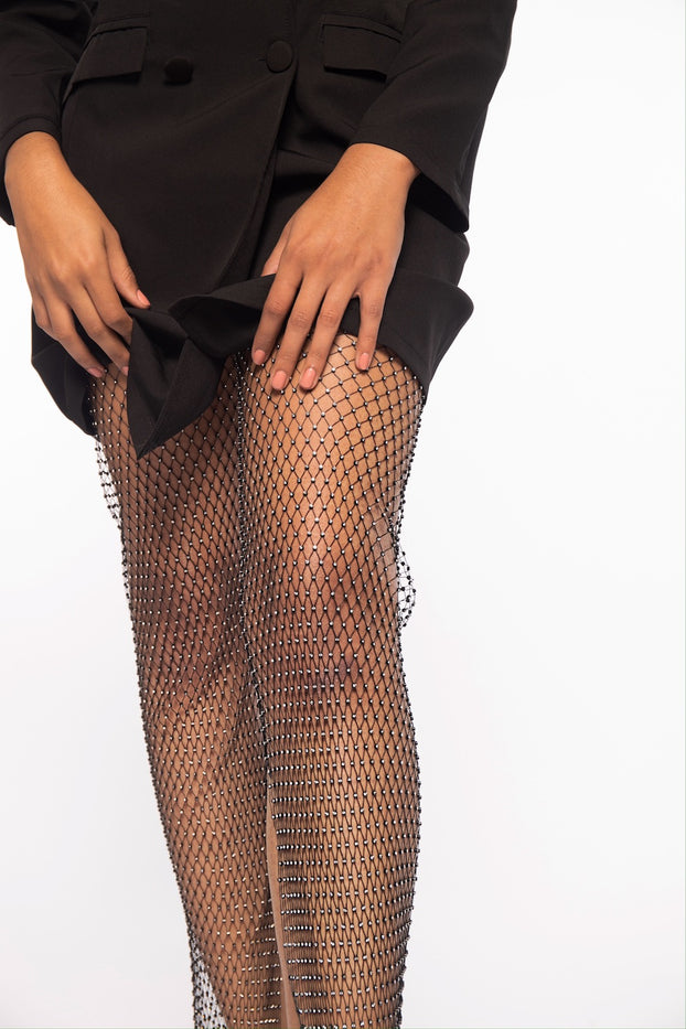 Black Wide Leg Jeweled Net Pants