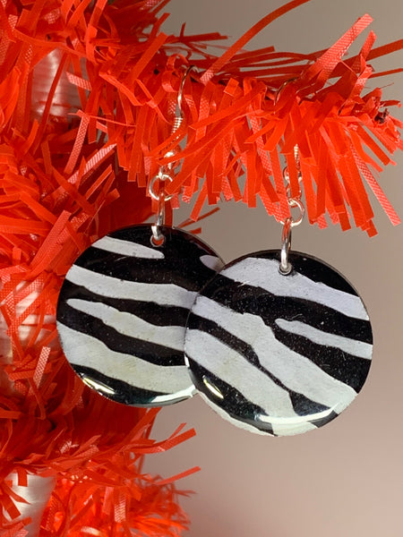 Zebra drop earrings