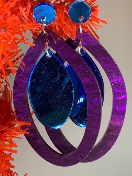 Peacock-esque statement earrings
