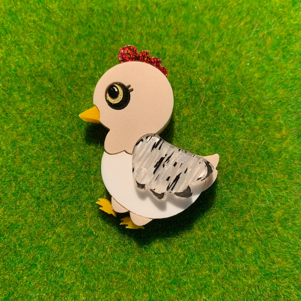 Chicken brooch OR collar clips - PREORDER