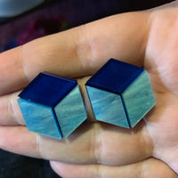 Mysterious Blue Cube stud earrings