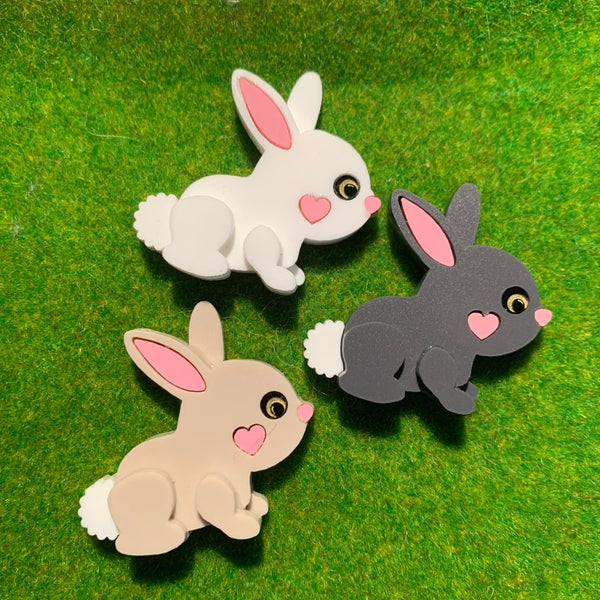 Bunny mini brooch OR collar clips - Pre-Order